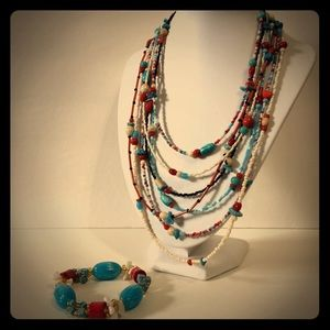 Jewelry - Beaded Statement Necklace and Bracelet
